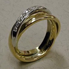 Sieraden ring geelgoud witgoud
